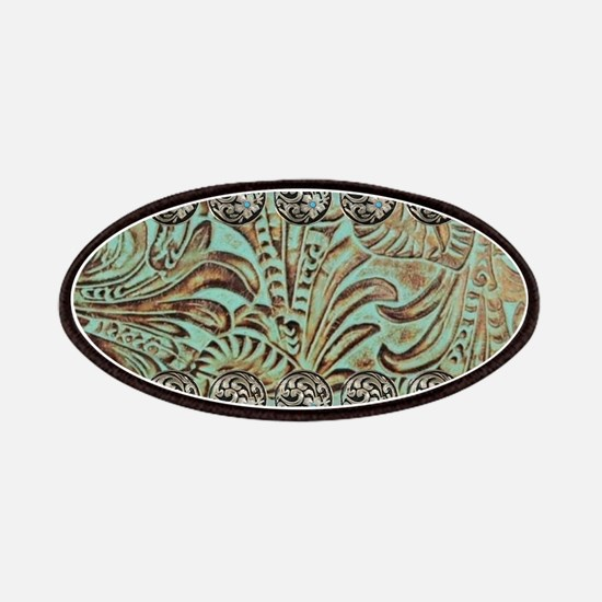 teal western tooled leather Patch
