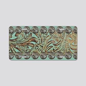 teal western tooled leather Aluminum License Plate