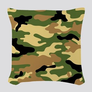 Camouflage (Olive / Green) Woven Throw Pillow