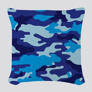 Camouflage (Blue / Cyan) Woven Throw Pillow