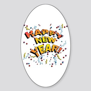 Confetti New Years Eve Oval Sticker