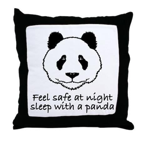 Feel safe at night sleep with a panda Throw Pillow
