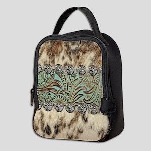 cow hide western leather Neoprene Lunch Bag