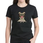 Happy Pug Women's Black T-Shirt