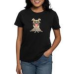 Happy Pug Women's Black T-Shirt