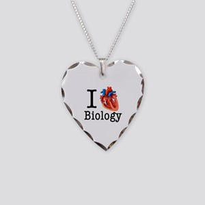 I love Biology Necklace Heart Charm
