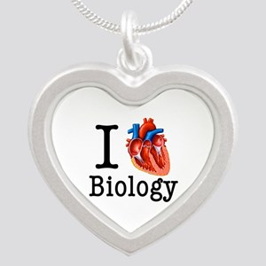 I love Biology Silver Heart Necklace