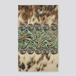 cow hide western leather Area Rug