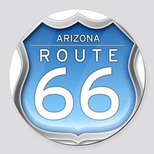 Arizona Route 66 - Blue Round Car Magnet