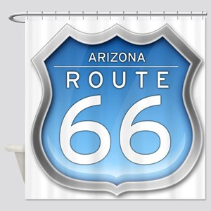 Arizona Route 66 - Blue Shower Curtain