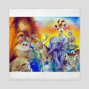 Animal Collage Queen Duvet