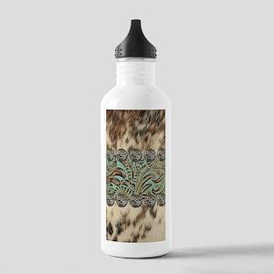cow hide western leath Stainless Water Bottle 1.0L