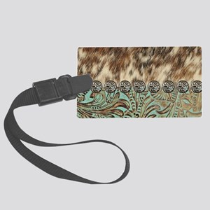 cow hide western leather Large Luggage Tag