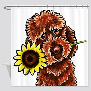 Sunny Chocolate Labrodoodle Shower Curtain