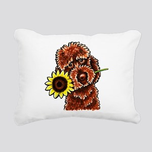 Sunny Chocolate Labrodoodle Rectangular Canvas Pil