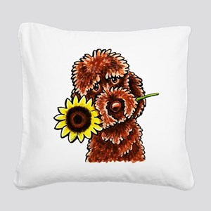 Sunny Chocolate Labrodoodle Square Canvas Pillow