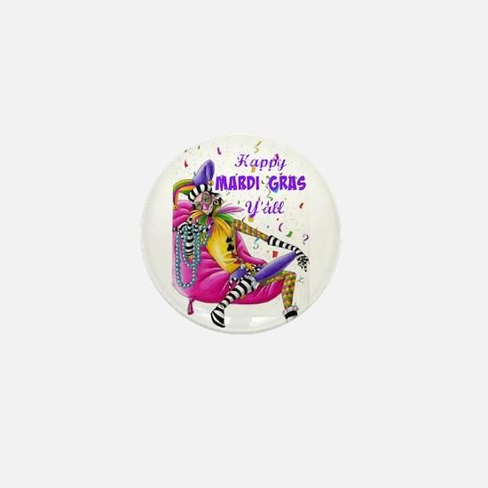 Happy Mardi Gras Y'all - Jester Mini Button