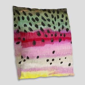 Rainbow Trout Skin Fishing Burlap Throw Pillow