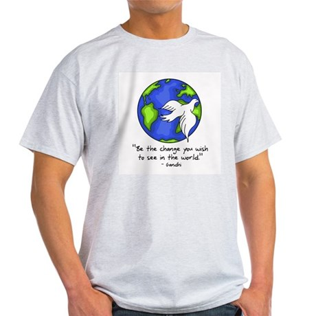 World Peace - Gandhi Be The Change Ash Grey T-Shir