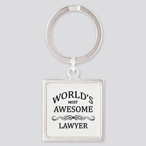 World's Most Awesome Lawyer Square Keychain