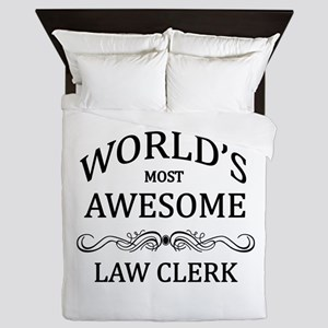 World's Most Awesome Law Clerk Queen Duvet