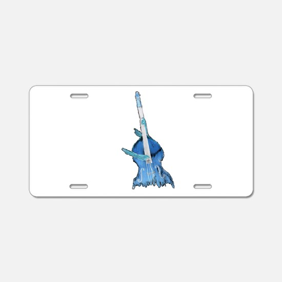 upright bass and hands blu Aluminum License Plate