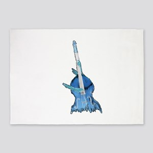 upright bass and hands blu 5'x7'Area Rug