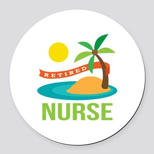Retired Nurse (tropical) Round Car Magnet