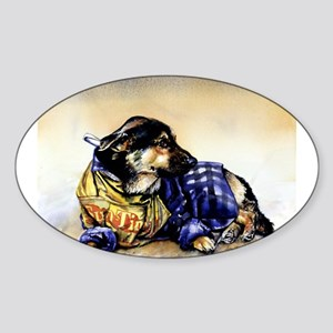 Newspaper Dog Sticker (Oval)