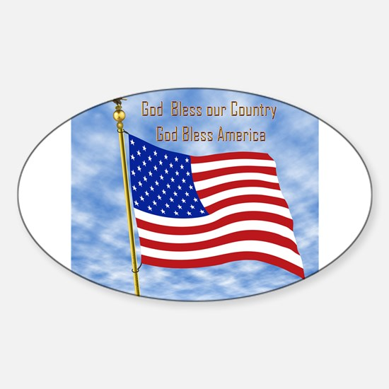 God Bless America 1 Oval Decal