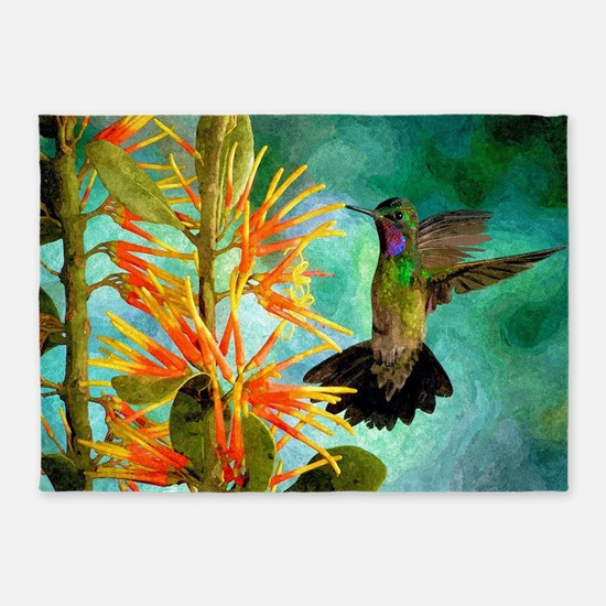 Hummingbird and Flowers 5'x7'Area Rug