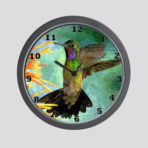 Hummingbird and Flowers Wall Clock