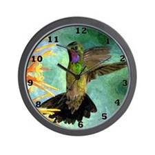 Hummingbird and Flowers Wall Clock