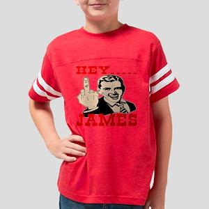 Blk_Hey_James_Retro_Mid_Finge Youth Football Shirt