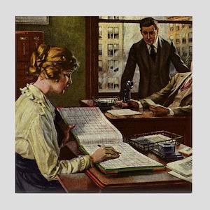 Vintage Business Office Tile Coaster