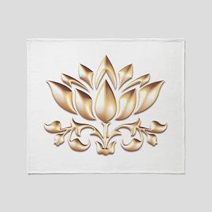 lotus gold Throw Blanket