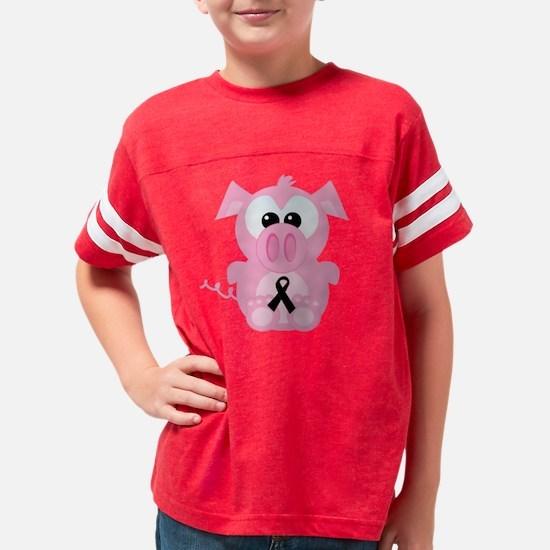black ribbon piggy Youth Football Shirt
