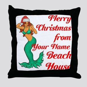 Mermaid Christmas Throw Pillow