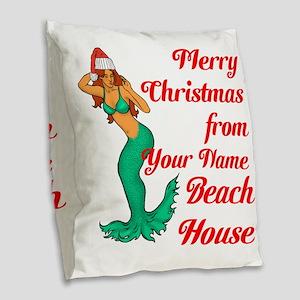 Mermaid Christmas Burlap Throw Pillow