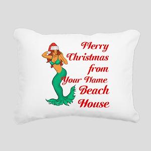 Mermaid Christmas Rectangular Canvas Pillow