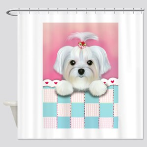 morkie shelly square Shower Curtain