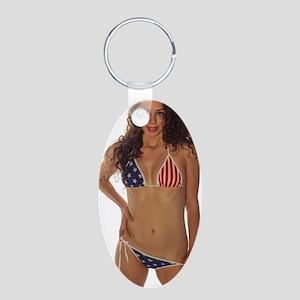 USA Girl Aluminum Oval Keychain