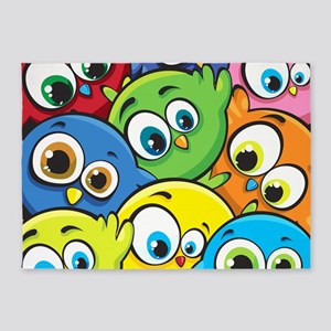 Cute Cartoon Birds 5'x7'Area Rug