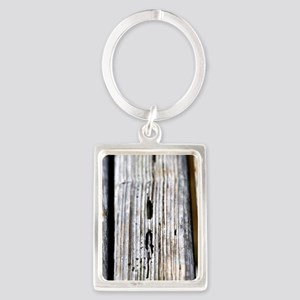 Old Wood Texture Portrait Keychain