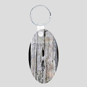 Old Wood Texture Aluminum Oval Keychain