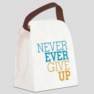 Never Ever Give Up Canvas Lunch Bag