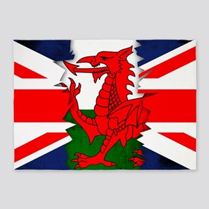 Welsh Flag And Union Jack Ripped 5'x7'Area Rug