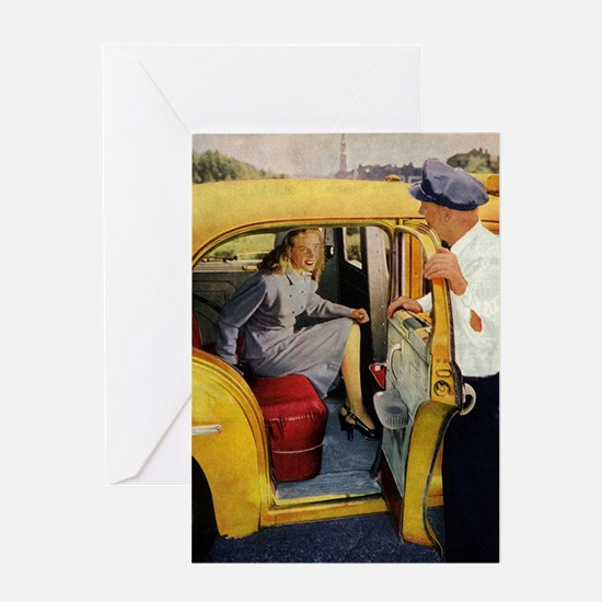 Vintage Taxi Cab Greeting Card