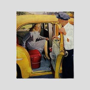 Vintage Taxi Cab Throw Blanket