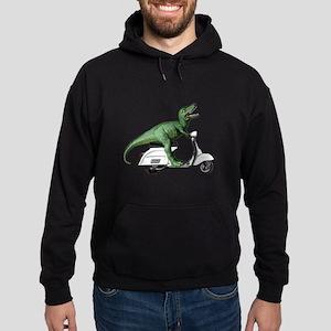 T-Rex Rides Scooter Hoodie (dark)